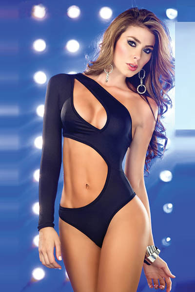 new sexy womens asymmetrical lingerie one piece swimwear bodysuit beachwear pink black one sleeve cut out side 8077-in One Pieces from Apparel & Accessories on Aliexpress.com
