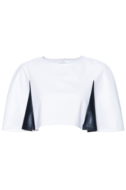 ROMWE | ROMWE Faux Leather Cropped White Cape, The Latest Street Fashion