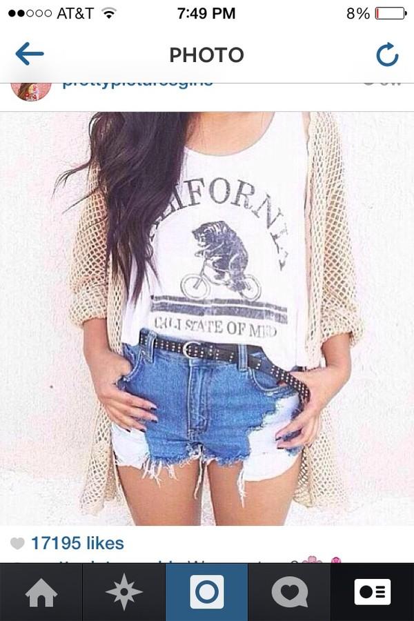 jacket tumblr cut off shorts cute shirt california jeans belt