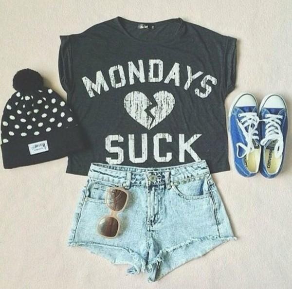t-shirt shorts hat beanie cropped t-shirt converse sunnies shirt mondays suck sunglasses shoes tank top grey monday suck blouse
