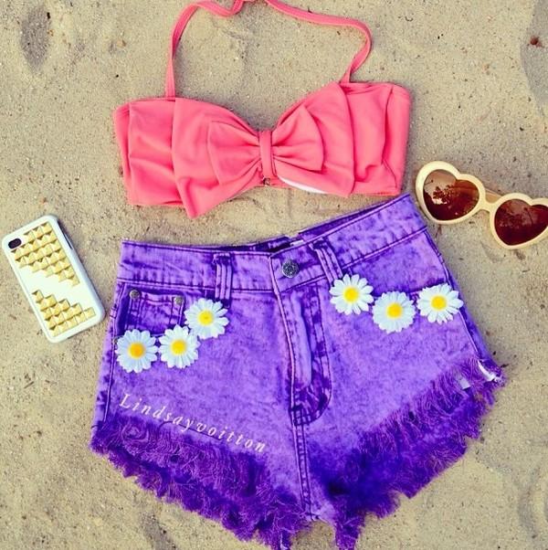 swimwear bikini bow pink summer cute beach floral dyed dye shorts High waisted shorts studs purple daisy denim