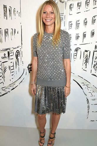 sweater top blouse grey metallic silver pleated skirt gwyneth paltrow sandals midi skirt shoes metallic blouse