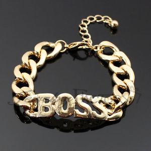 Boss Thick Chain Gold Bracelet | eBay
