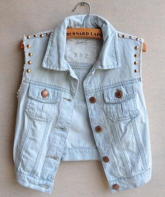 jacket short denim jacket studs vest