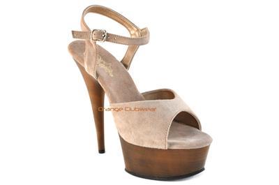 PLEASER Sexy Light Brown Suede Faux Wood Platform Casual Sandals High Heels Shoe   eBay
