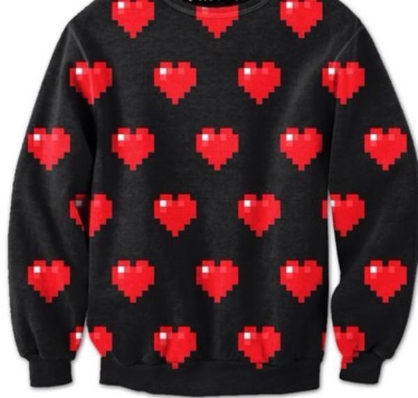 sweater black heart sweatshirt heart sweater