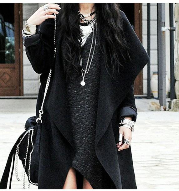 coat longcoat all black everything