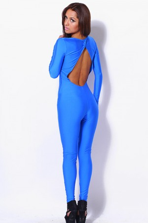 Trendy Cute Cobalt blue mesh inset backless fitted clubbing catsuit jumpsuit for cheap. Womens Clothing -1015store