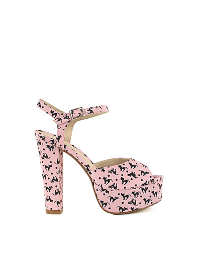 Printed Platform Sandal - Nly Shoes - Pink - Party Shoes - Shoes - Women - Nelly.com