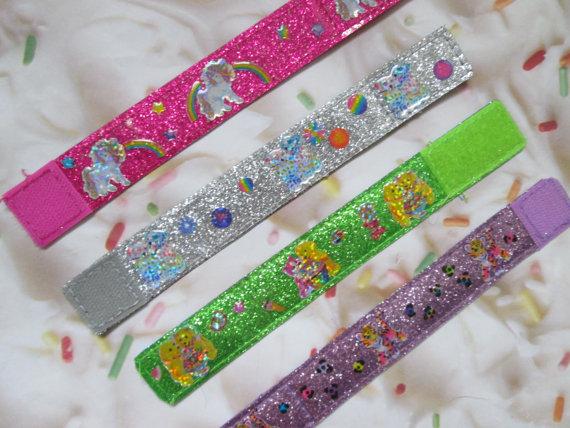 Lisa Frank Glitter Sticker Cuff 90s Bracelet by CANDYPANTSclothing