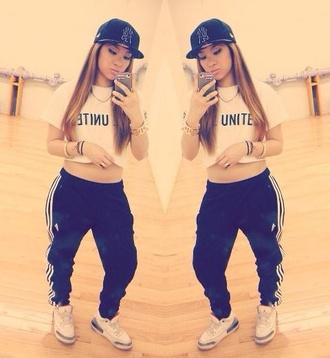 pants sweatpants girl swag hip hop shirt l.a. adidas air jordan shoes