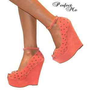 Ladies Coral Pink Peep Toe High Studded Wedge Heels Shoe Strappy Sandal Prom 3 8 | eBay