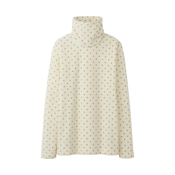blouse uniqlo white top girly high collar polka dots