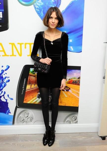 black dress black velvet alexa chung dress