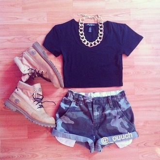 shorts camouflage roll up shorts camo shorts timberlands tan green military style shirt jewels shoes blouse t-shirt