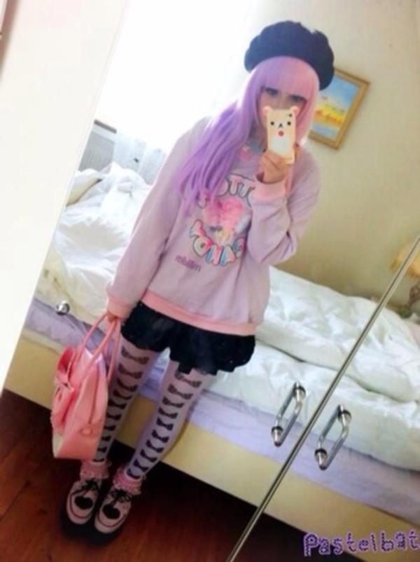 sweater leggings bow kawaii creepy kawaii pastel goth phone cover cotton candy shoes