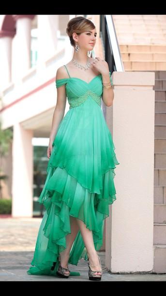 dress girly cute dress high-low dresses ombre dress