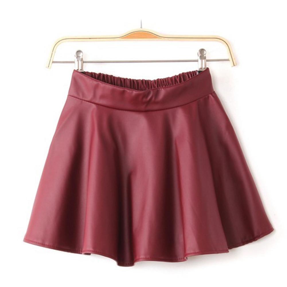 Short Women's Black Red Faux Leather Mini Skirt High Waist Pleated Skater Flared   eBay