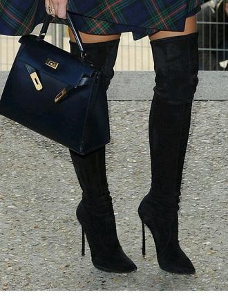 shoes overknee boots black overknee boots