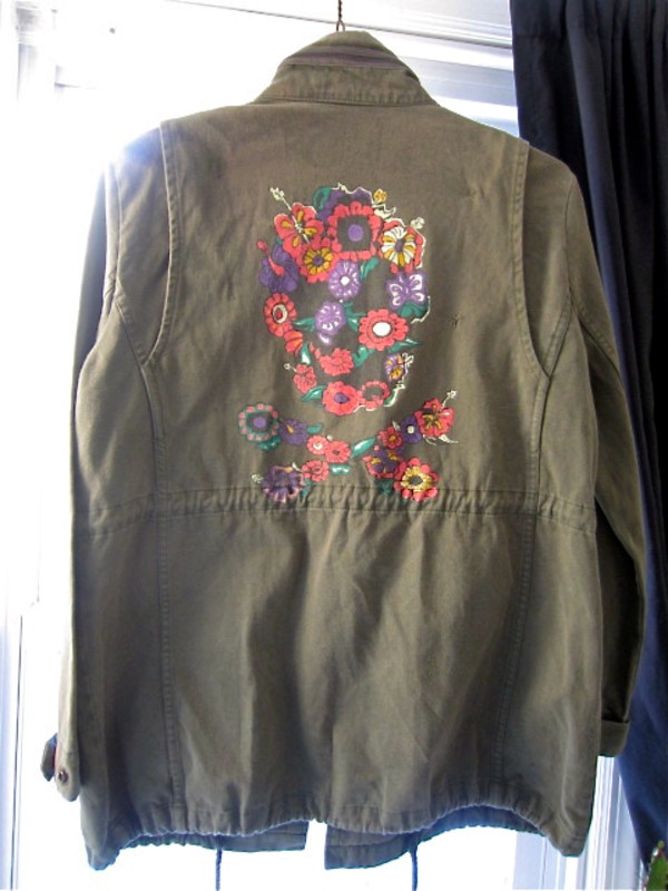 jacket parka camouflage military style hippie boho floral skull vintage olive green camo trendy streetstyle
