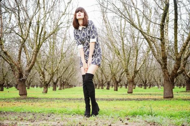 a fashion nerd blogger winter dress patterned dress thigh high boots collared dress dress jacket shoes