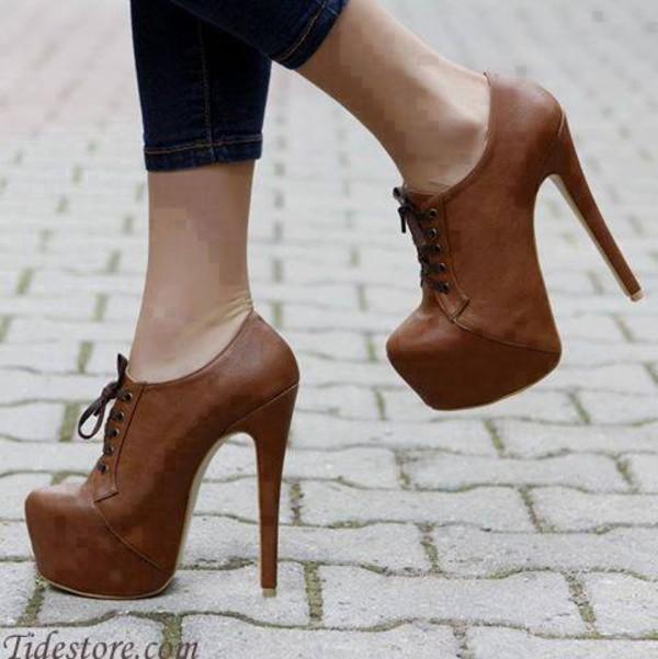 shoes brown heel booties cute high heels
