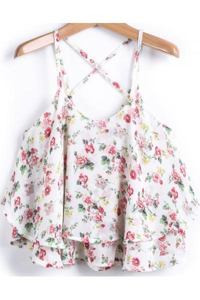 KCLOTH Apricot Spaghetti Strap Floral Chiffon Vest