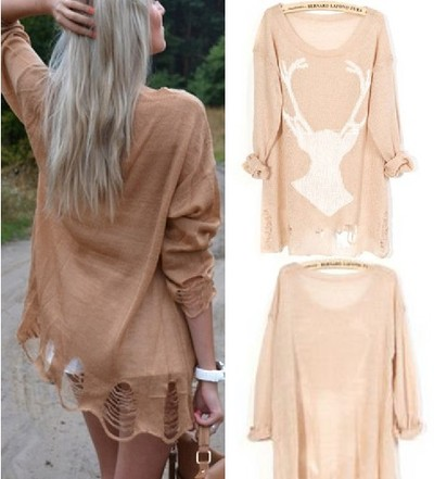 yourfashionsandcute | Deer Distressed Long Sleeve Jumper | Online Store Powered by Storenvy
