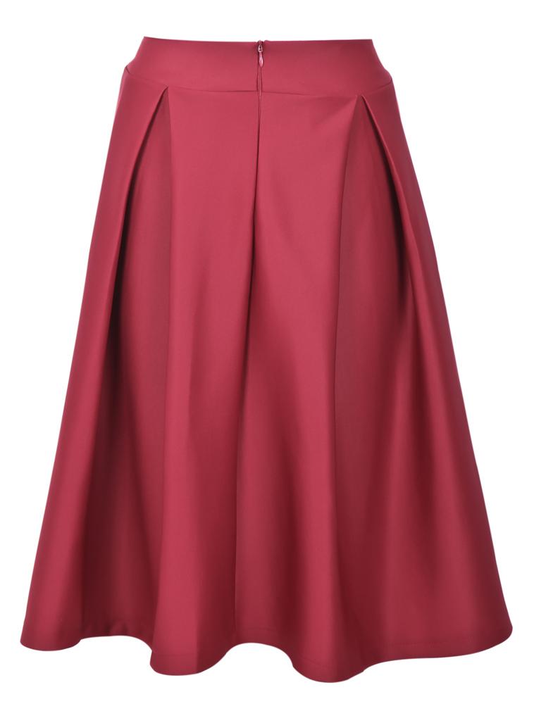 Red Zipper Ruffle A Line Skirt - Sheinside.com