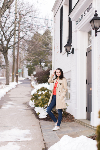 thecollegeprepster blogger coat sweater jeans jewels shoes trench coat sneakers blouse