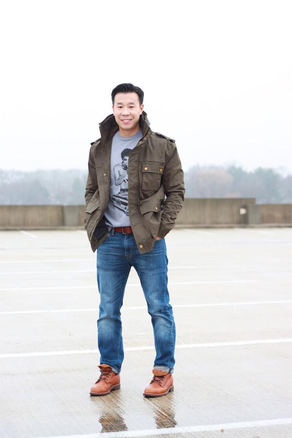 i am khatu coat t-shirt jeans shoes belt