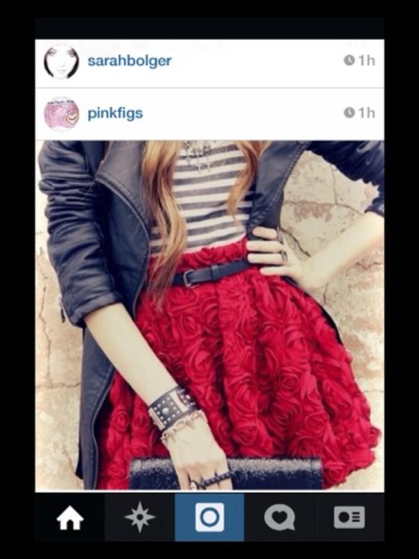 skirt red black and white