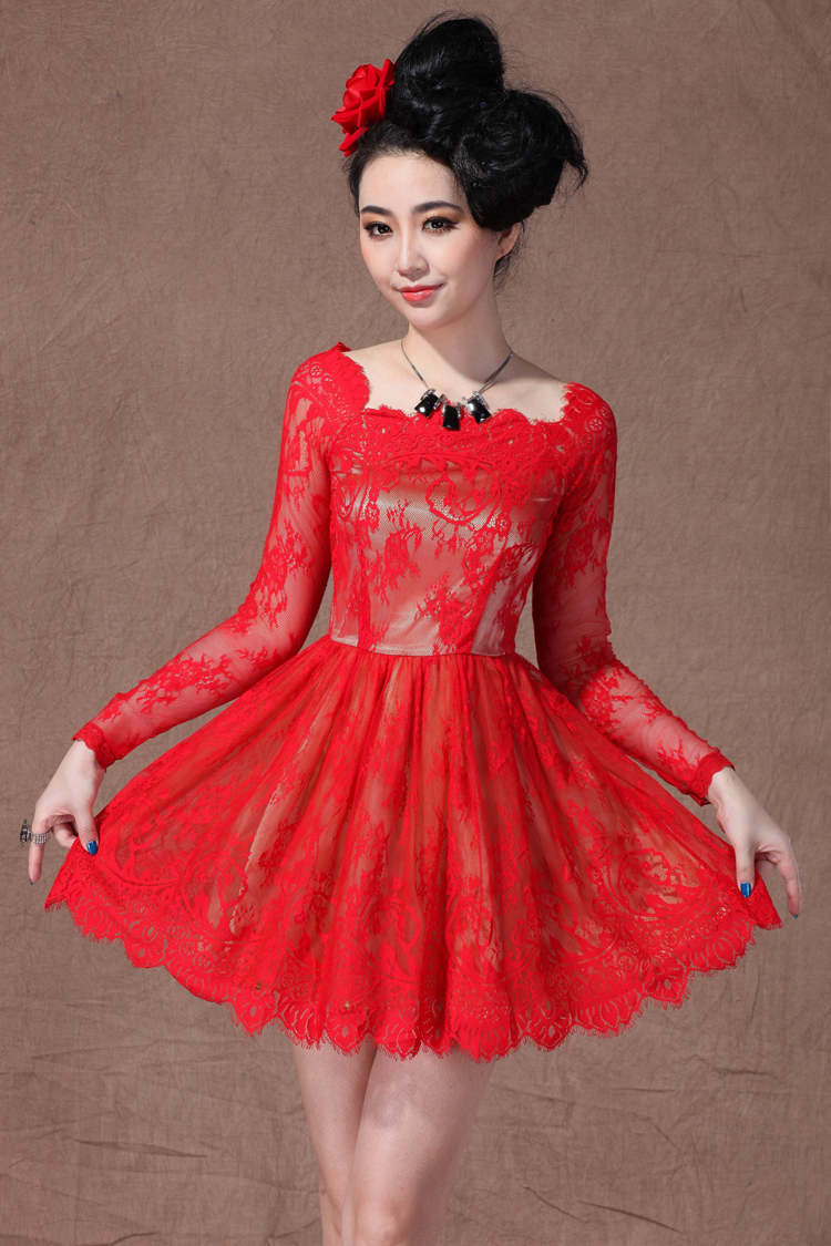 Red Boat Neck Long Sleeve Overlay Lace Flare Dress