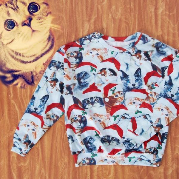 shirt romwe sweatshirt print christmas cats t-shirt x-mas x'mas sweater snow winter sweater