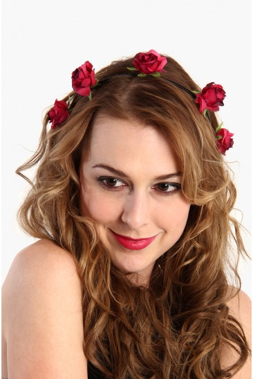 LoveMelrose.com From Harry & Molly | Red Rose Flower Headband