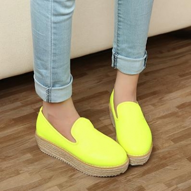 Discount sneakers platforms lovely fashion wedge heel girls flats shoes green