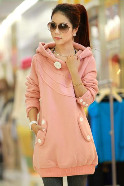 Casual Long Sleeve Regular Pink Cotton Pullovers Sweater - gopromdres.com