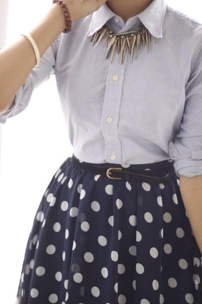 skirt polka polka dots navy cream polka dots