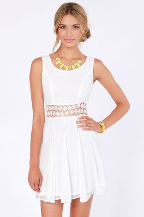 Cute Ivory Dress - Cutout Dress - Skater Dress - $41.00