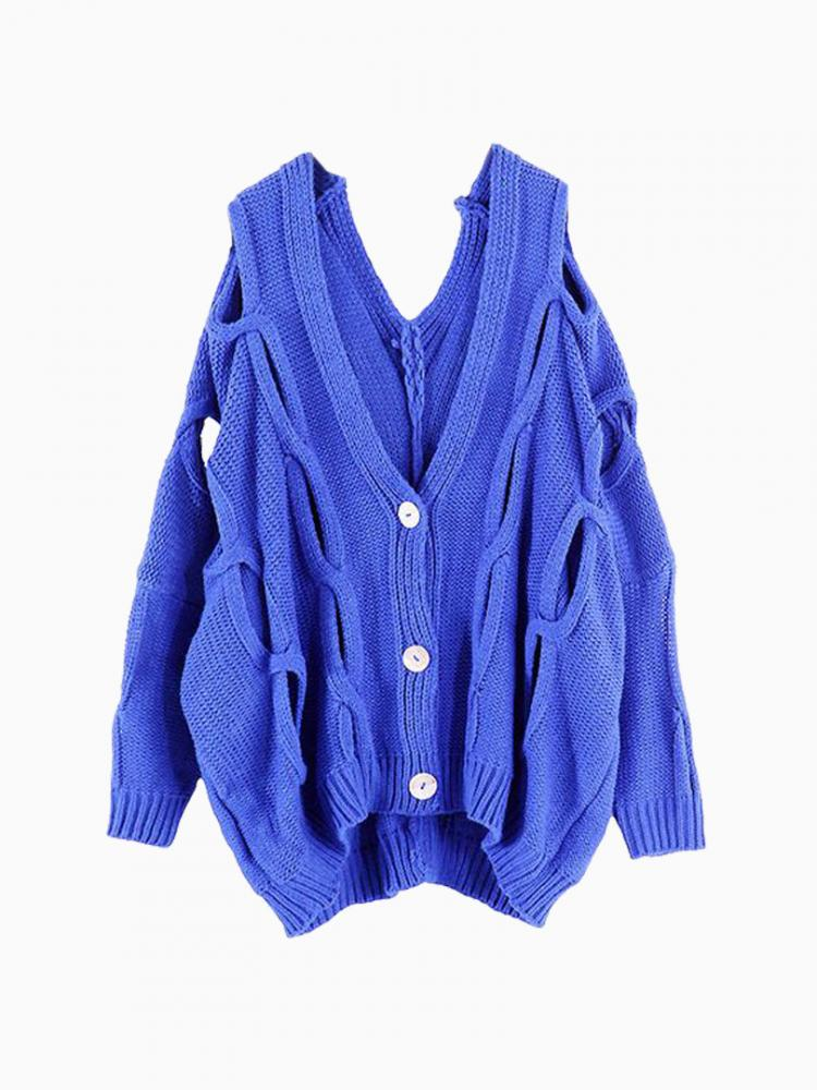 Blue Knit Cardigan With Holes | Choies