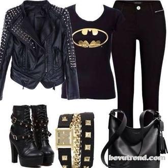 jacket batman belt pants boots jeans shirt bag shoes