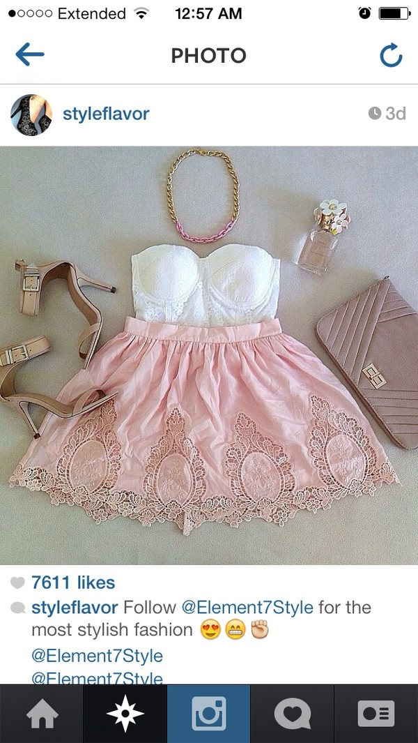 blouse white lace top white corset lace skirt tan heels pink and gold chain nude clutch skirt