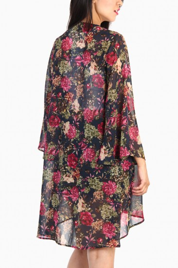LoveMelrose.com From Harry & Molly | Floral Kimono Cardigan - Multi-Navy