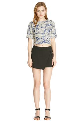 Shorts | Black TEXTURED SKORT  | Warehouse
