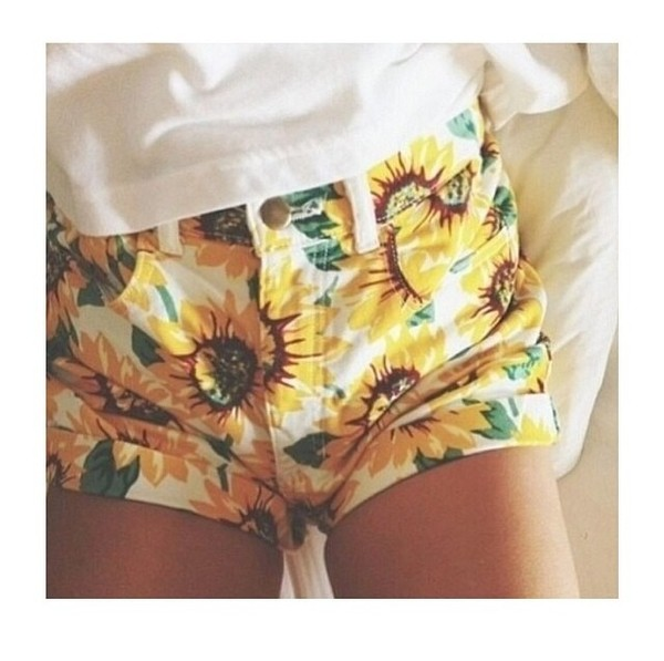 shorts sunflower printed shorts flowers summer tumblr