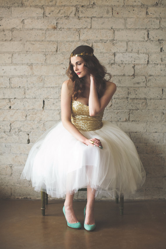 Gold Sequin Sweetheart Strapless Tulle Party Dress  Étoile by ouma
