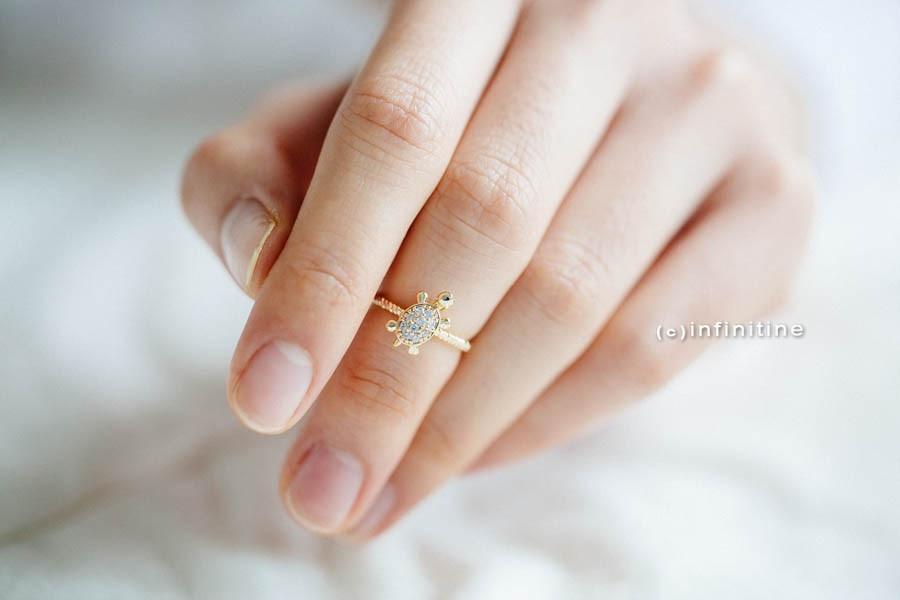 cz turtle ring,R866N