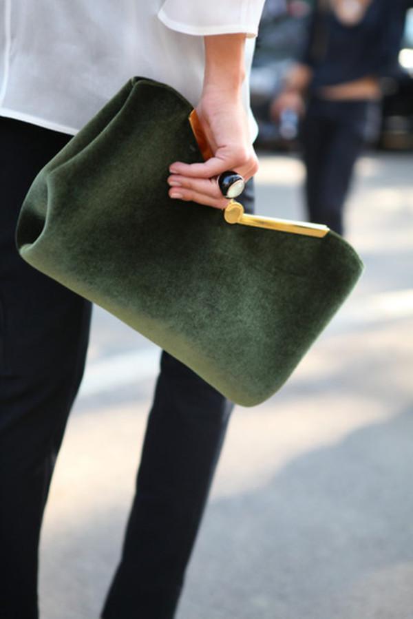 bag suede bag green purse