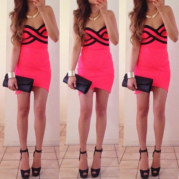 dress sexy heels pink black gold necklace jewels cute
