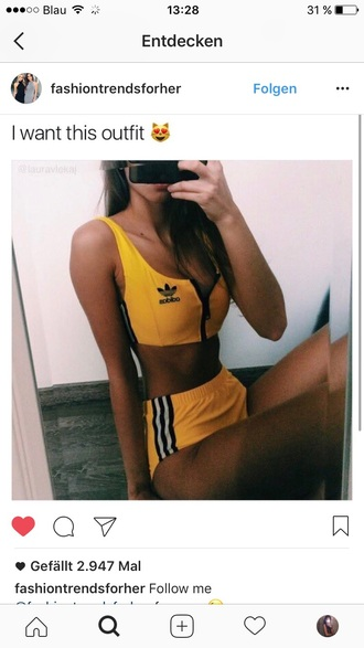underwear set adidas yellow short hot pants s